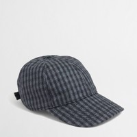 Factory wool check baseball cap