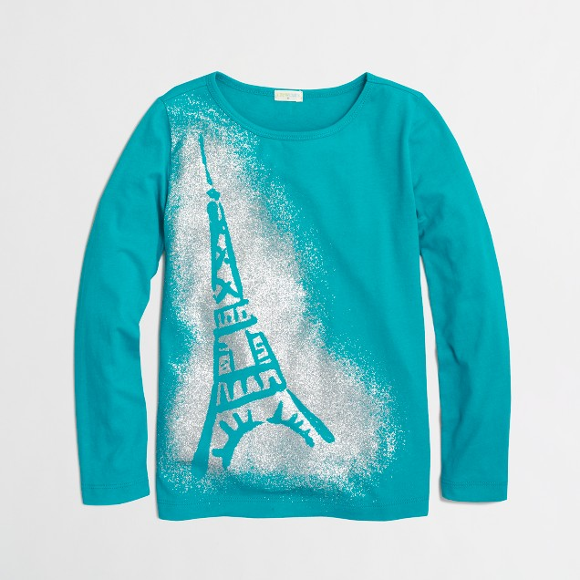 Factory girls' long-sleeve glitter Eiffel Tower keepsake tee