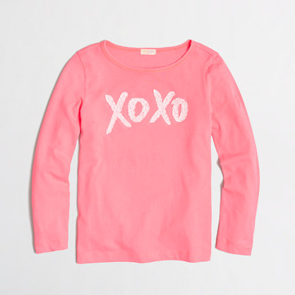 Factory girls' long-sleeve XOXO sequin keepsake tee