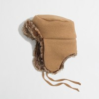 Factory faux-fur-lined trapper hat