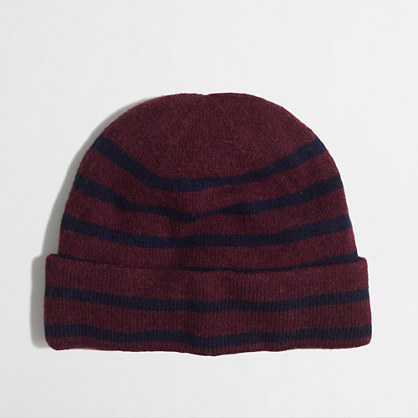 Factory placed-stripe knit hat