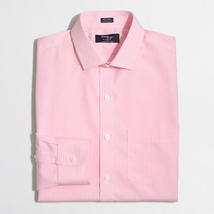 Tall wrinkle-free Voyager dress shirt in mini-gingham