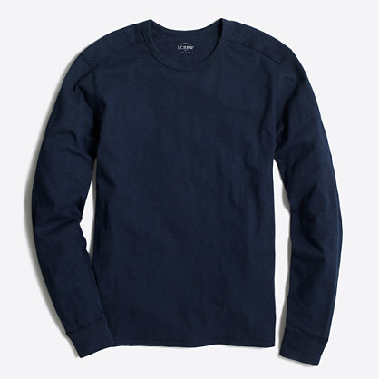 Tall long-sleeve textured cotton T-shirt