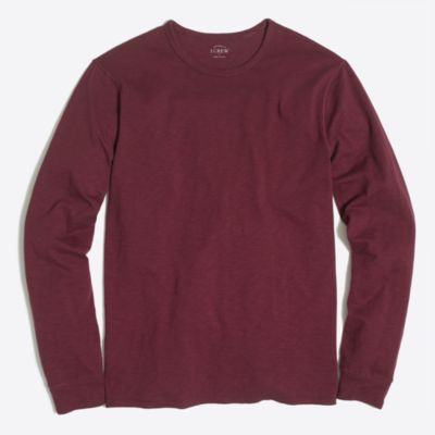 Tall long-sleeve textured cotton T-shirt factorymen tall c