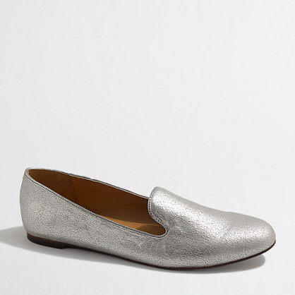 Factory Addie crackled metallic loafers