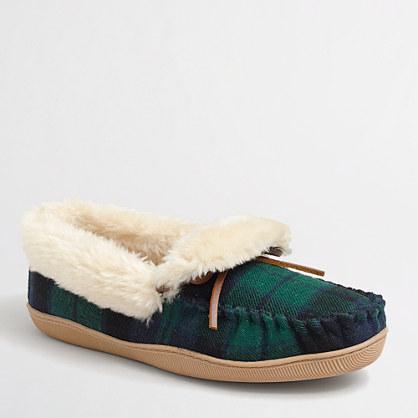 Factory tartan shearling slippers