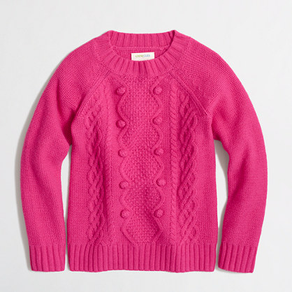 Girls' cable popover sweater