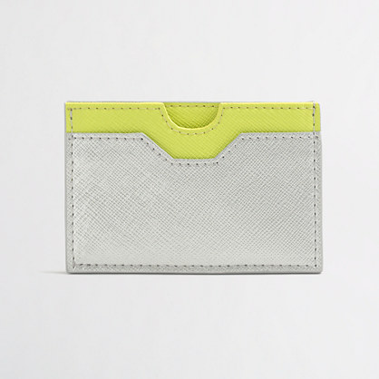 Colorblock leather cardholder