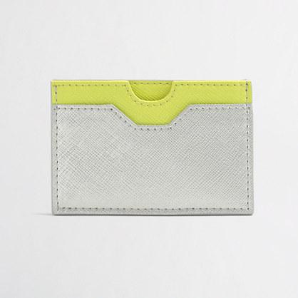 Colorblock leather cardholder