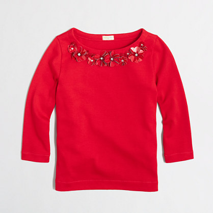 Factory girls' long-sleeve necklace tee