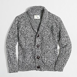 Boys' marled shawl-collar cardigan sweater