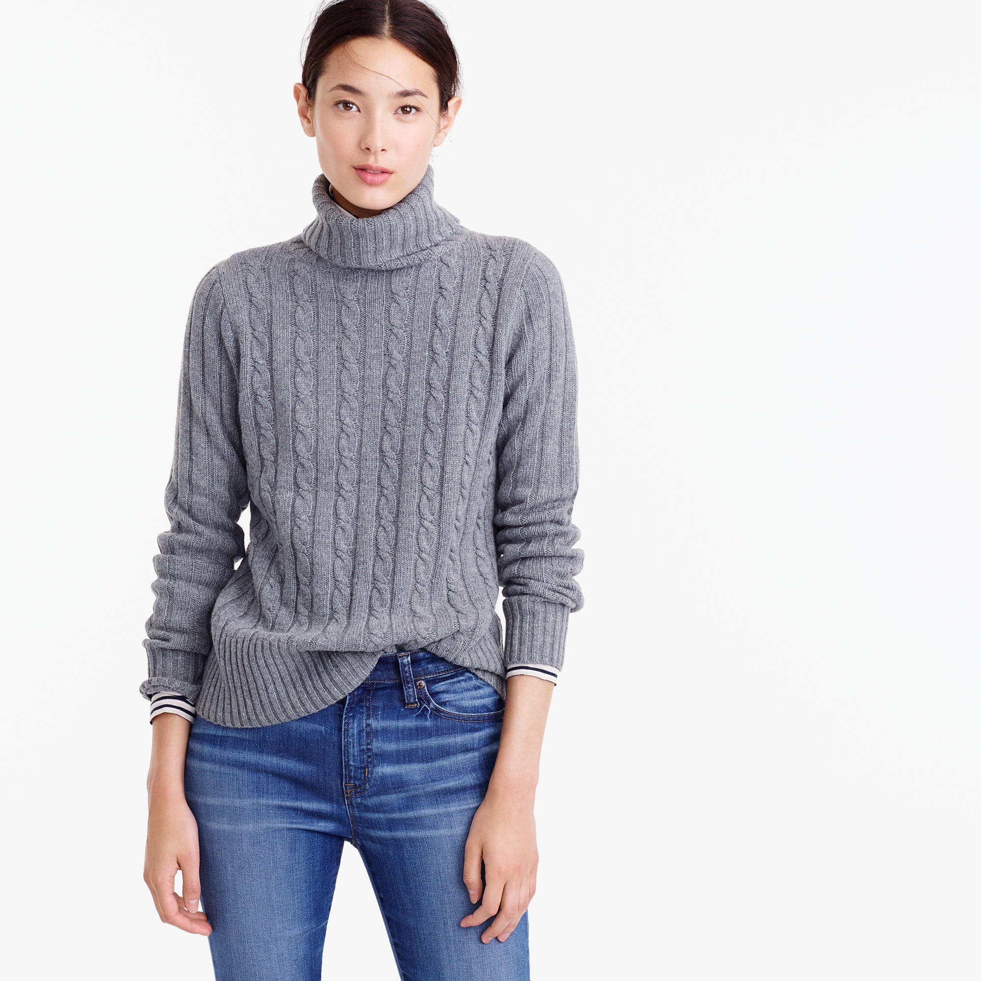 Cambridge Cable Chunky Turtleneck Sweater : Women's Sweaters | J.Crew