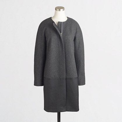 Factory collarless dress coat with leather panel