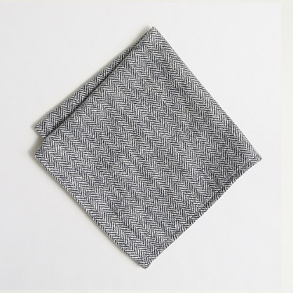 Wool herringbone pocket square