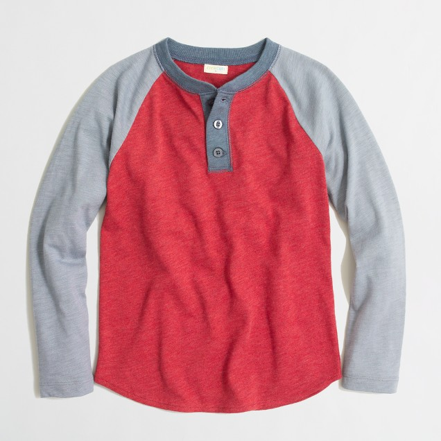 Boys' colorblock baseball henley