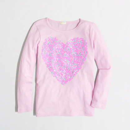 Factory girls' long-sleeve confetti sequin heart keepsake tee
