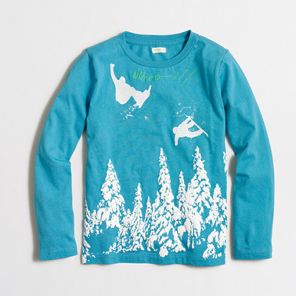 Boys' long-sleeve snowboarders storybook T-shirt