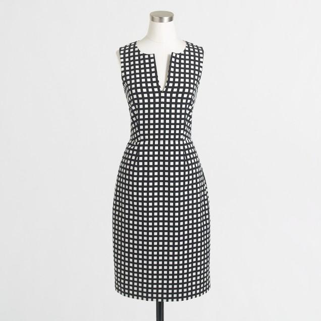Factory printed split-neck dress