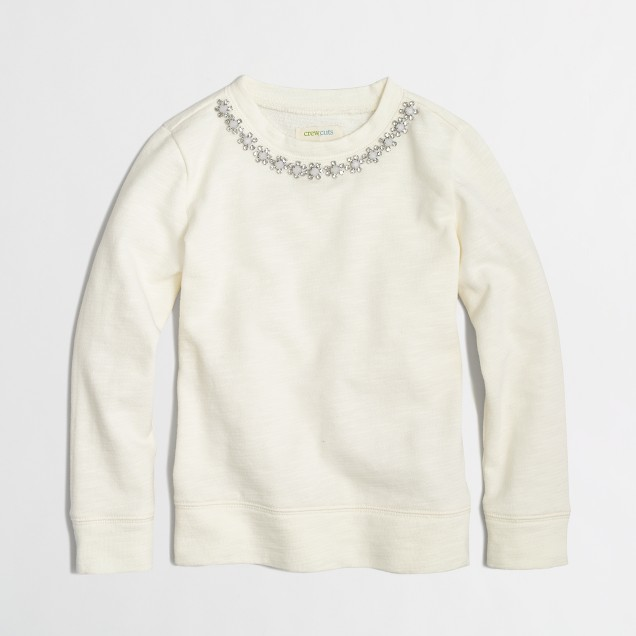 Factory girls' jeweled necklace sweatshirt