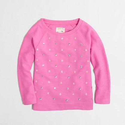 Factory girls' sequin dot sweatshirt