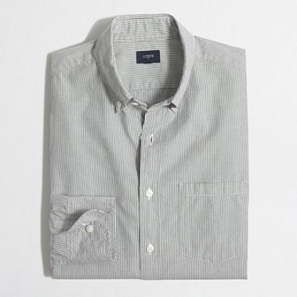 Indigo railroad-striped shirt