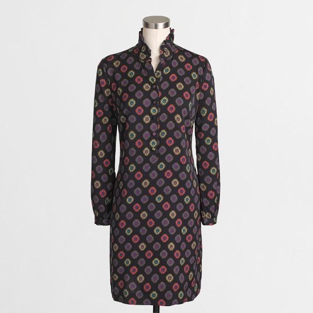 Printed ruffle-neck dress