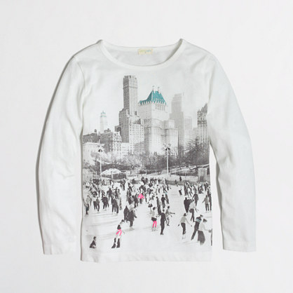 Factory girls' long-sleeve ice skating girl keepsake tee