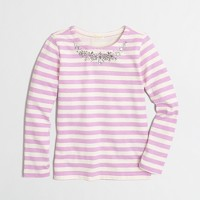 Girls' long-sleeve necklace stripe t-SHIRT