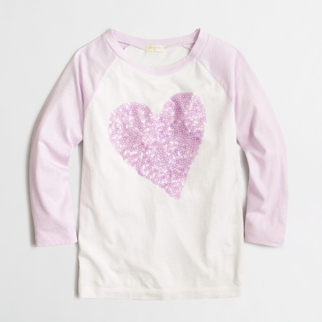 Girls' three-quarter-sleeve sequin heart keepsake T-shirt
