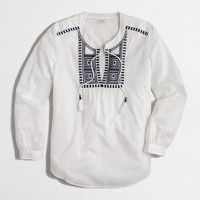 Factory embroidered voile peasant top