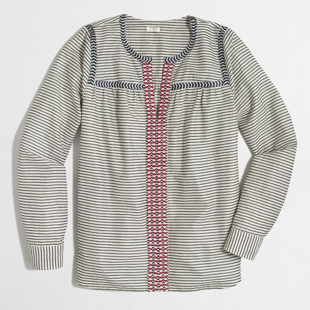 Factory printed embroidered peasant top