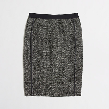 Factory pencil skirt in metallic tweed