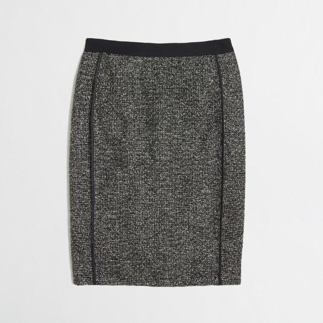 Factory pencil skirt in metallic tweed