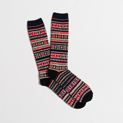 Striped Fair Isle socks