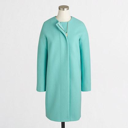 Factory collarless dress coat