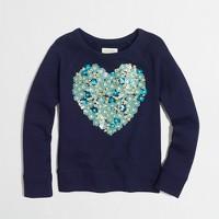 Factory girls' sequin heart sweatshirt