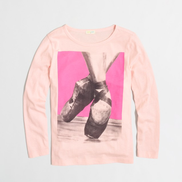 Factory girls' long-sleeve ballet slippers keepsake tee