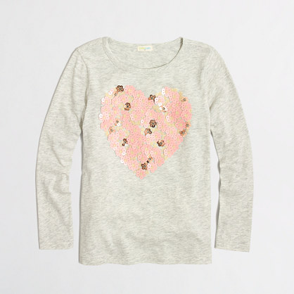 Factory girls' long-sleeve floral hearts sequin keepsake tee