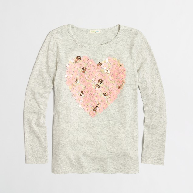 Factory girls' long-sleeve floral hearts sequin keepsake tee