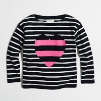 Girls' striped heart popover sweater