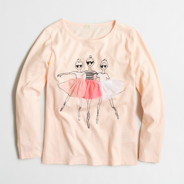 Girls' long-sleeve ballerinas keepsake T-shirt