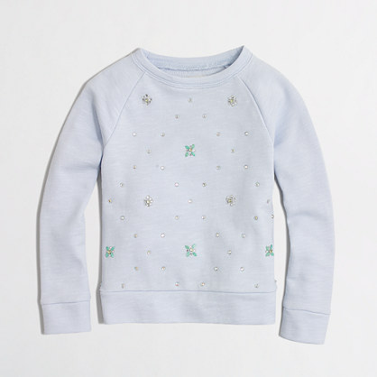 Girls' allover jeweled sweatshirt