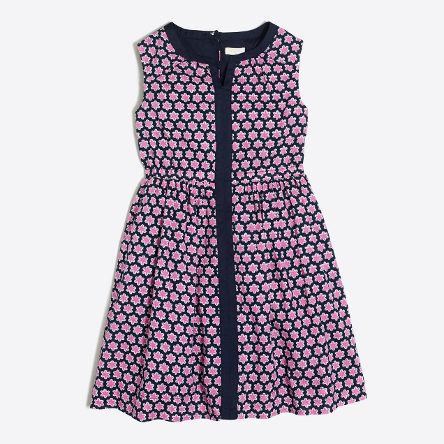 Girls' printed sleeveless dress with pockets