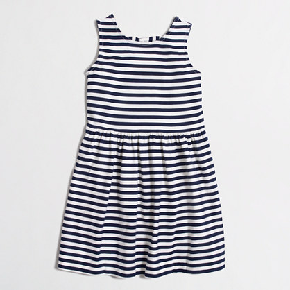 Girls' stripe double-bow back dress