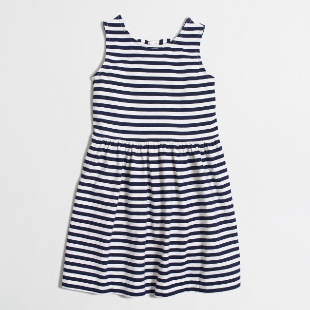 Girls' stripe double-bow back dress