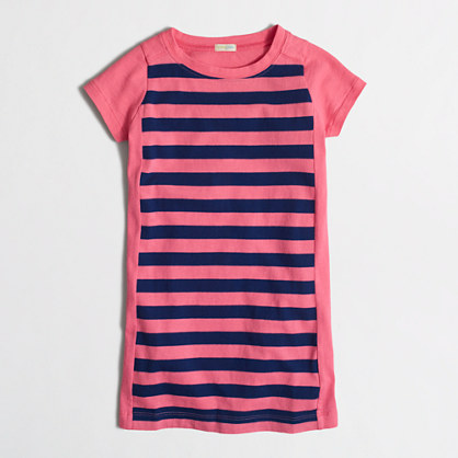 Girls' short-sleeve stripe colorblock dress