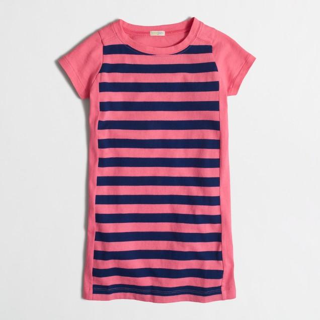 Girls' short-sleeve stripe colorblock dress