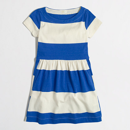 Girls' short-sleeve stripe dress