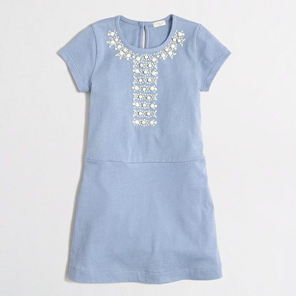 Girls' short-sleeve jeweled dress