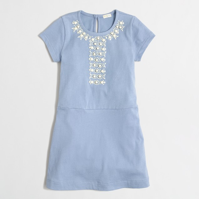 Girls' short-sleeve jeweled dress